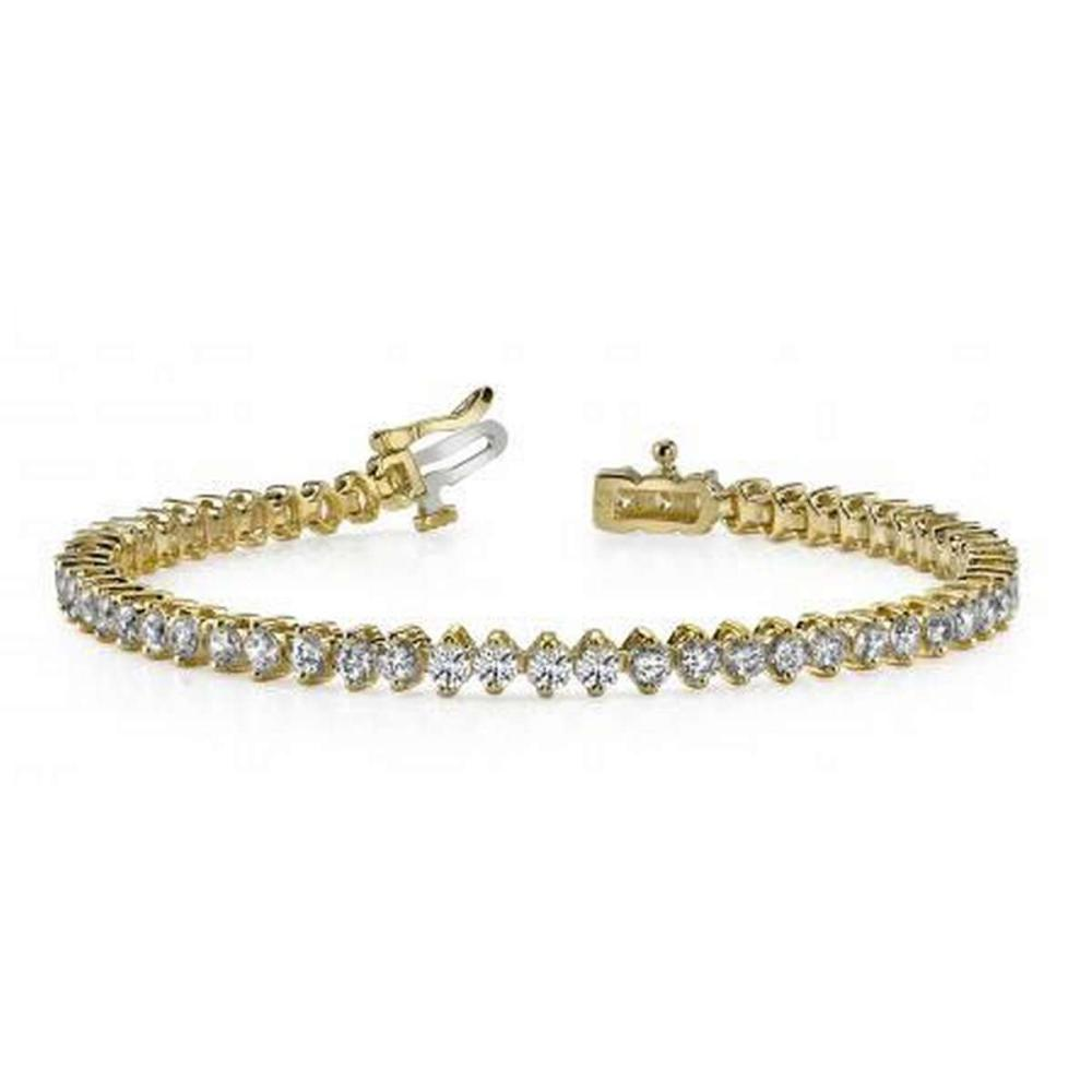 14K YELLOW GOLD 3 CTW G-H VS2/SI1 CLASSIC 2 PRONG DIAMOND TENNIS BRACELET #IRS19904