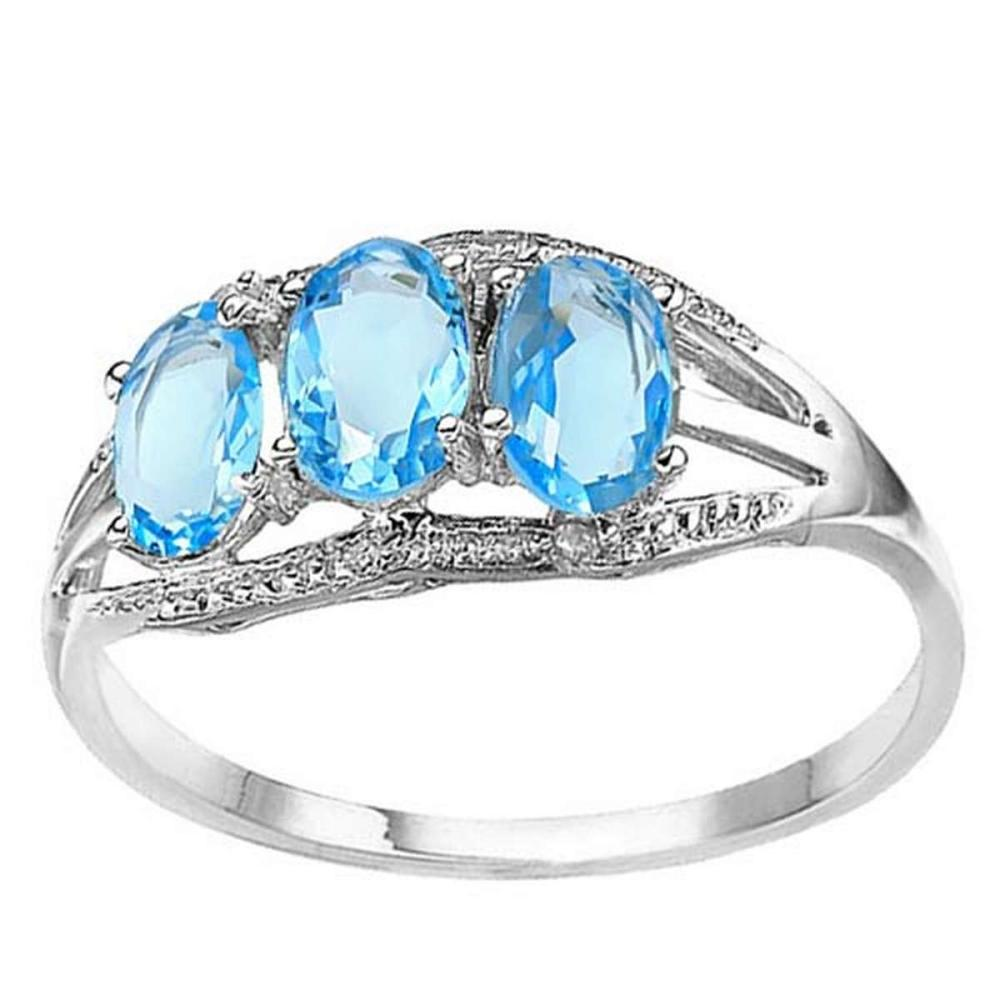 1.45 CTW GENUINE SKY BLUE TOPAZ & GENUINE DIAMOND (2 PCS) 10KT SOLID WHITE GOLD RING  #IRS56582