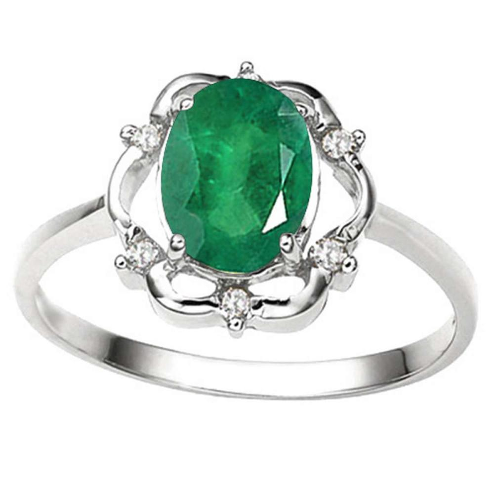 1.17 CT EMERALD AND ACCENT DIAMOND 0.02 CT 10KT SOLID WHITE GOLD RING #IRS93858