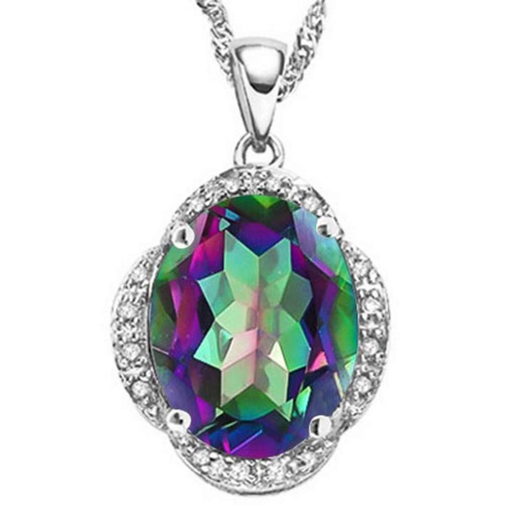 4.47 CTW MYSTIC GEMSTONE & (16 PCS) DIAMOND 10KT SOLID WHITE GOLD PENDANT #IRS56596