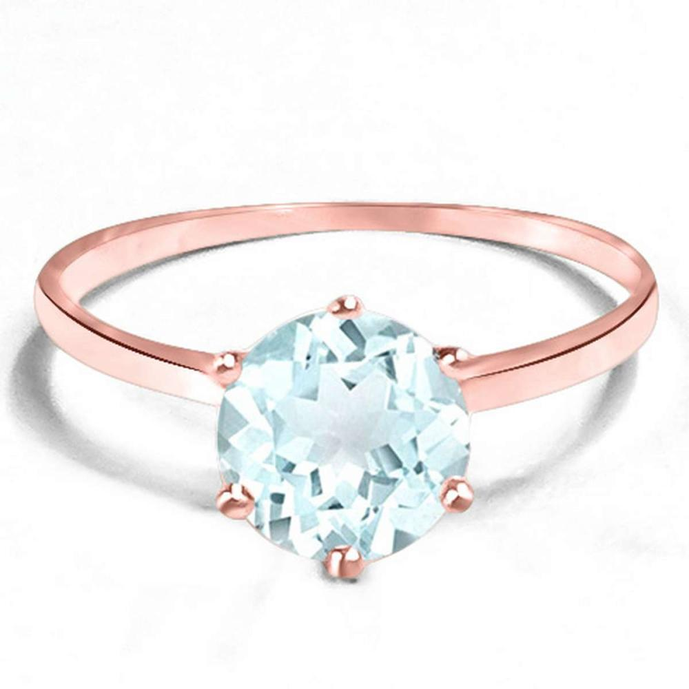 0.63 CT AQUAMARINE 10KT SOLID RED GOLD RING #IRS93848