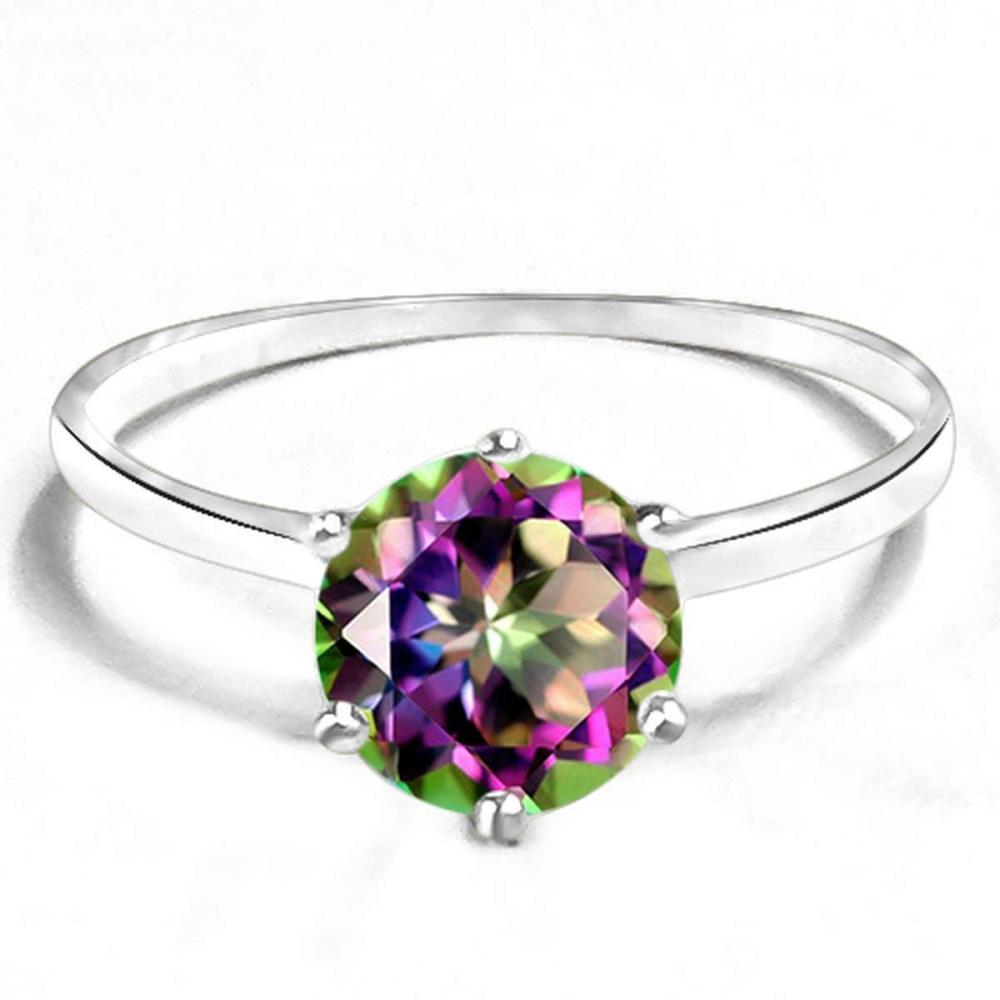 0.8 CT RAINBOW MYSTIC QUARTZ 10KT SOLID WHITE GOLD RING #IRS93833