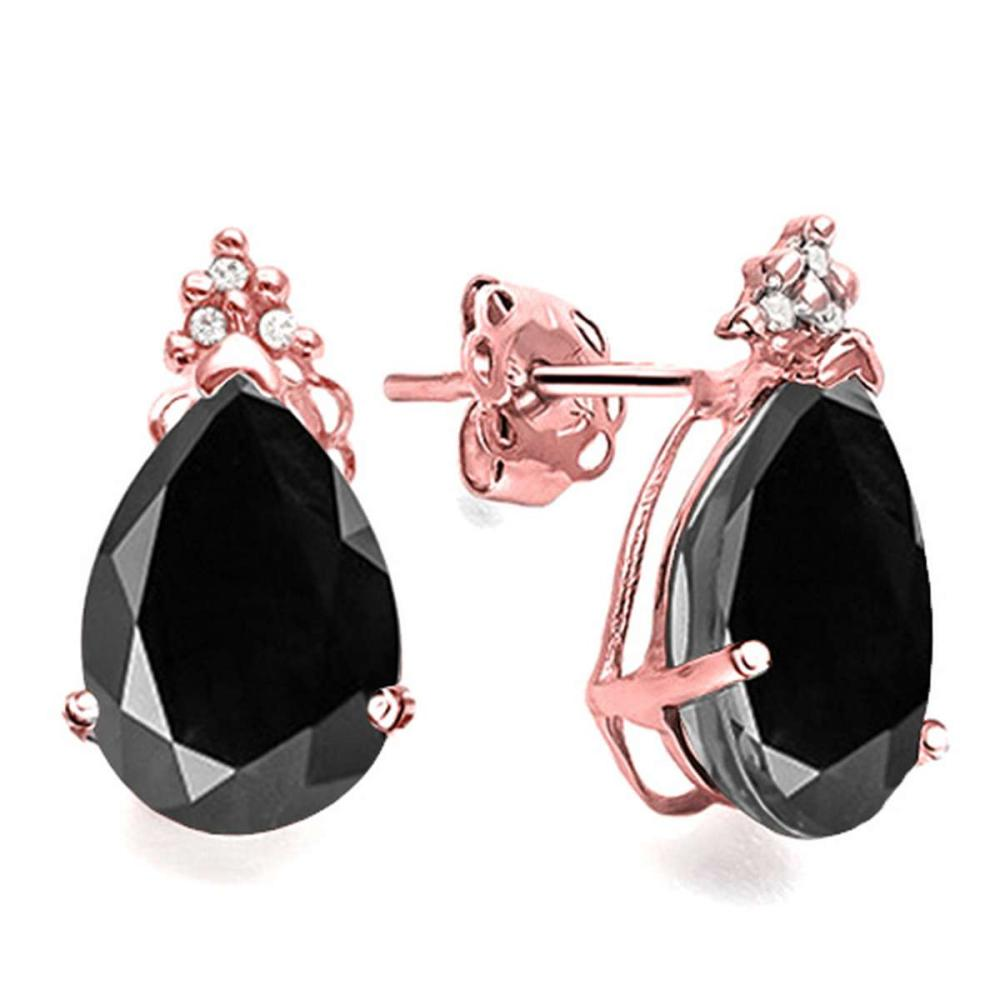 1.47 CT BLACK SAPPHIRE AND ACCENT DIAMOND 10KT SOLID ROSE GOLD EARRING #IRS93742