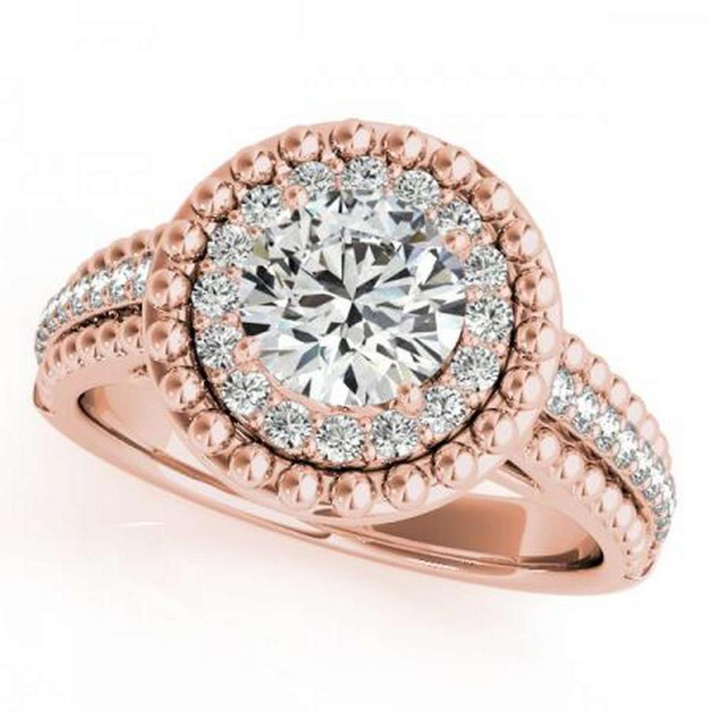 CERTIFIED 18K ROSE GOLD 1.04 CT G-H/VS-SI1 DIAMOND HALO ENGAGEMENT RING #IRS86274