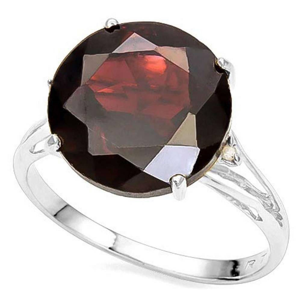 6.38 CTW GENUINE GARNET & GENUINE DIAMOND (2 PCS) 10KT SOLID WHITE GOLD RING #IRS80856