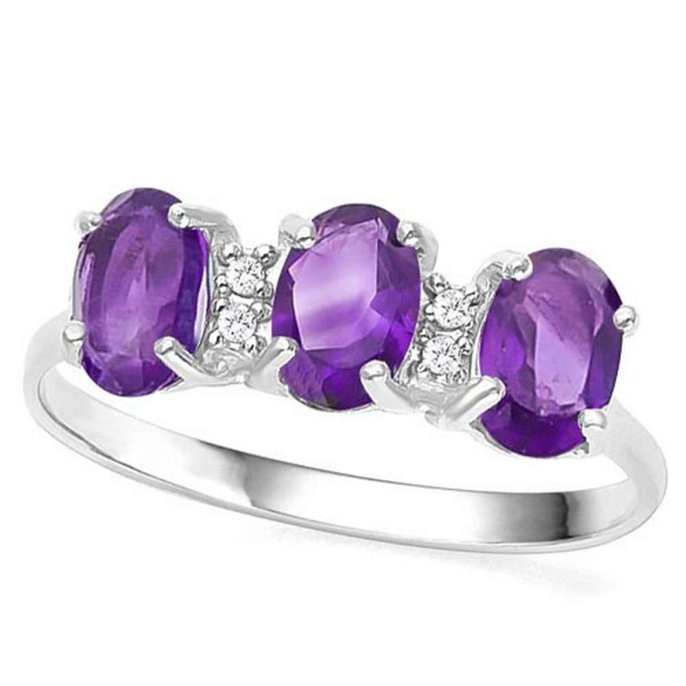 1.39 CTW GENUINE AMETHYST & GENUINE DIAMOND (4 PCS) 10KT SOLID WHITE GOLD RING #IRS56561