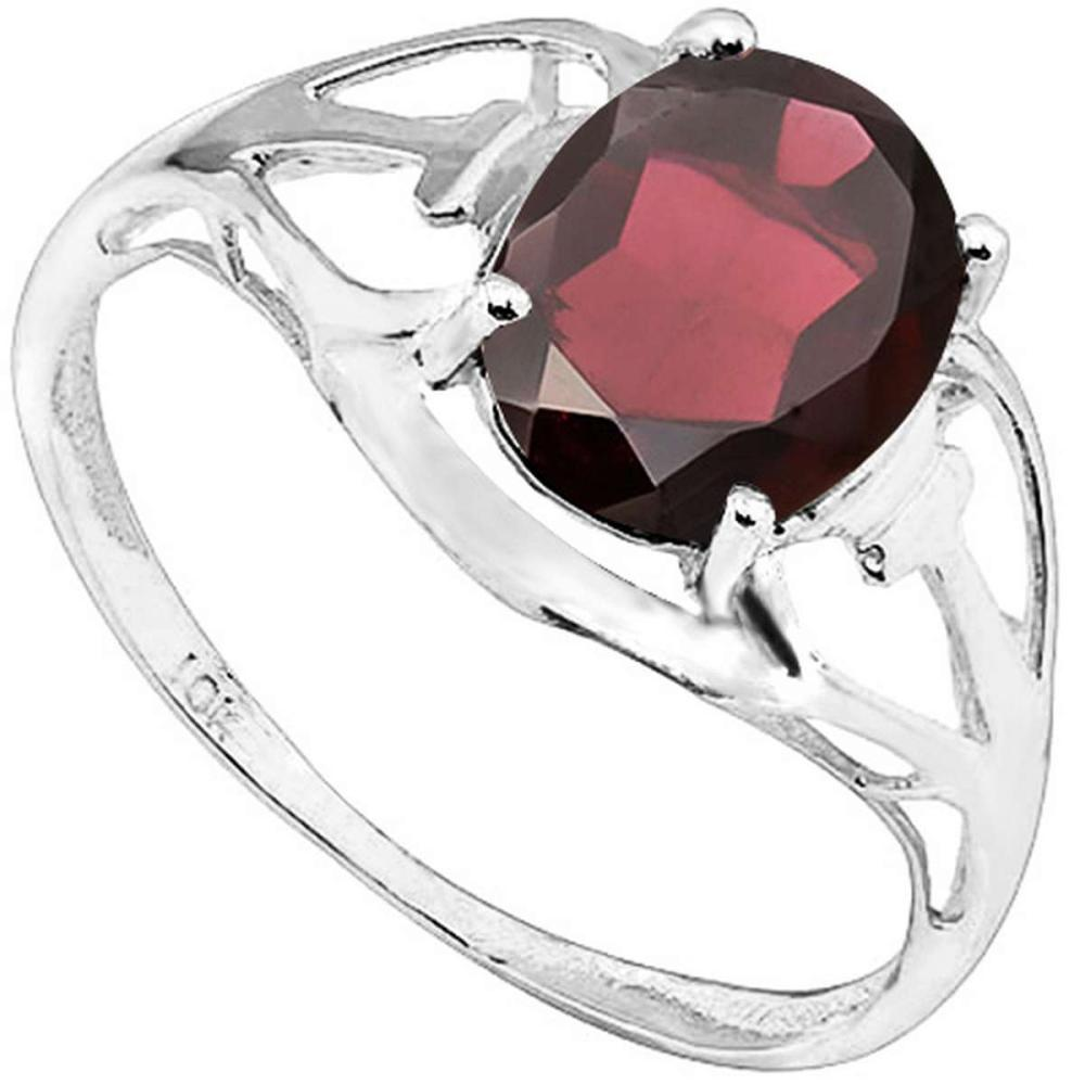 2.06 CT REDDISH GARNET 10KT SOLID WHITE GOLD RING #IRS93792