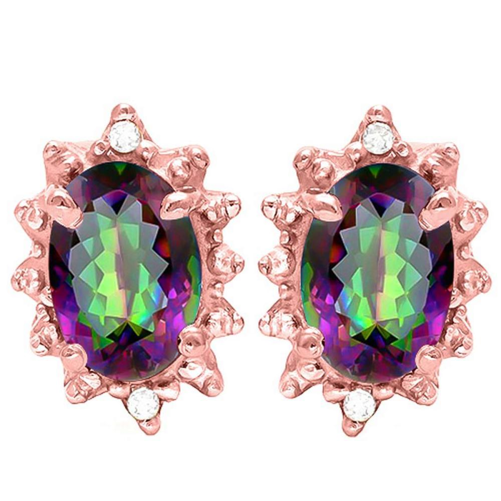 0.80 CT RAINBOW MYSTIC QUARTZ AND ACCENT DIAMOND 10KT SOLID ROSE GOLD EARRING #IRS93733
