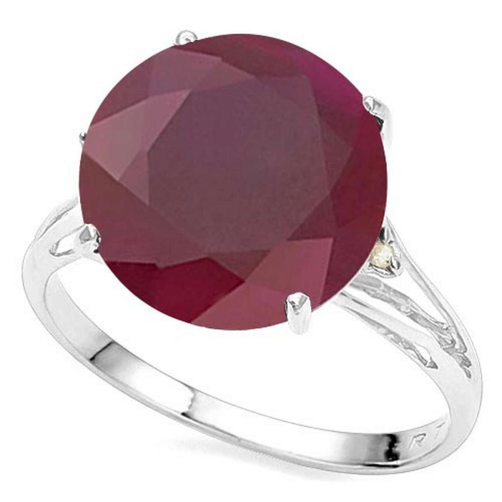 7.13 CTW GENUINE RUBY & GENUINE DIAMOND (2 PCS) 10KT SOLID WHITE GOLD RING #IRS80857