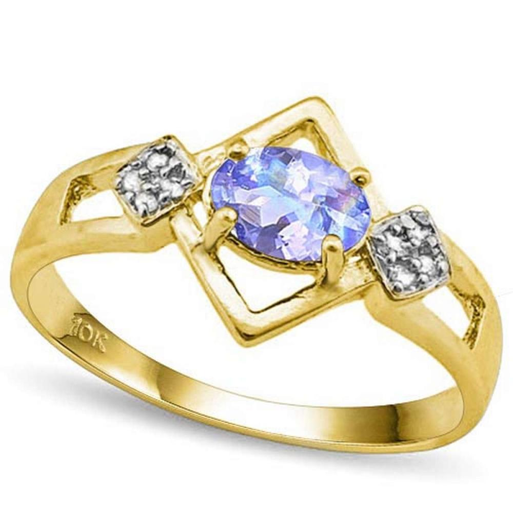 0.7 CTW GENUINE TANZANITE & GENUINE DIAMOND (8 PCS) 10KT SOLID YELLOW GOLD RING #IRS80968