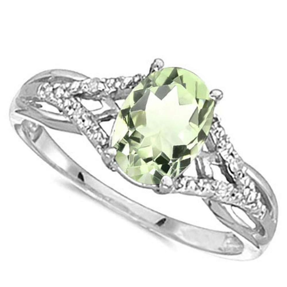 0.78 CARAT GREEN AMETHYST & 0.04 CTW DIAMOND 14KT SOLID WHITE GOLD RING #IRS76911