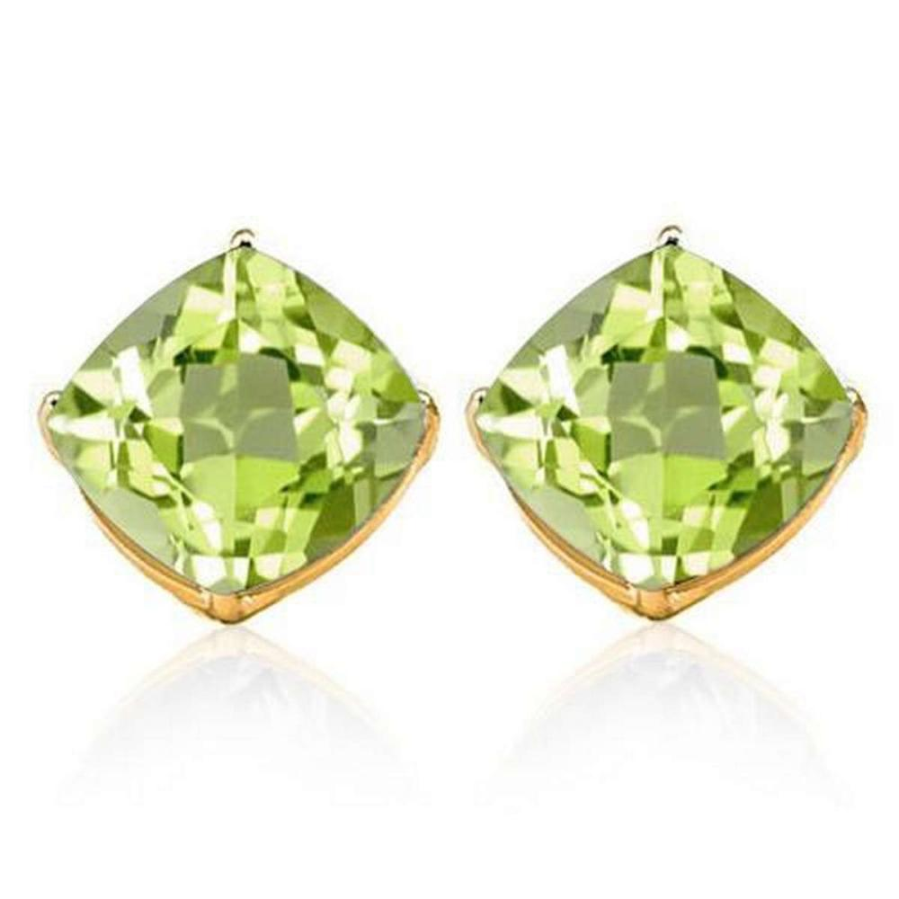 2.05 CTW PERIDOT 10K SOLID YELLOW GOLD CUSHION SHAPE EARRING #IRS37054