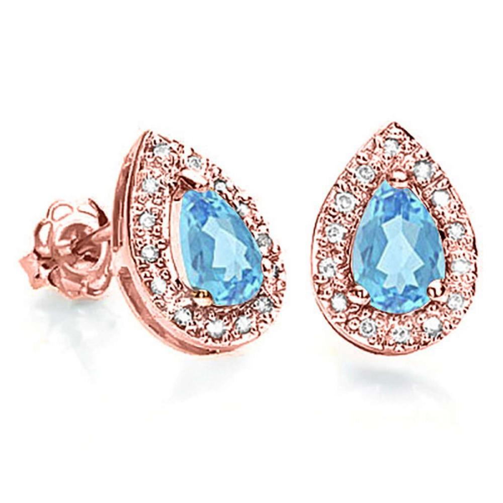 0.68 CT SKY BLUE TOPAZ AND ACCENT DIAMOND 10KT SOLID ROSE GOLD EARRING #IRS93786