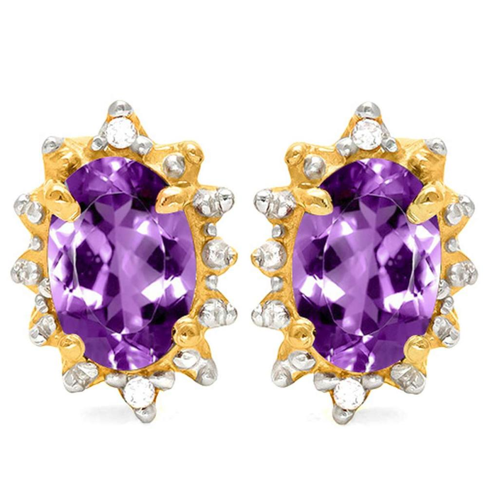 0.96 CT AMETHYST AND ACCENT DIAMOND 10KT SOLID YELLOW GOLD EARRING #IRS93723
