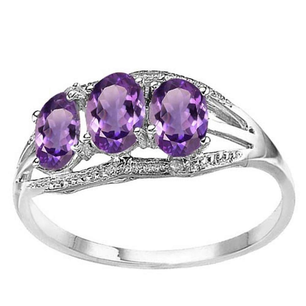 1.3 CTW GENUINE AMETHYST & GENUINE DIAMOND (2 PCS) 10KT SOLID WHITE GOLD RING  #IRS56580
