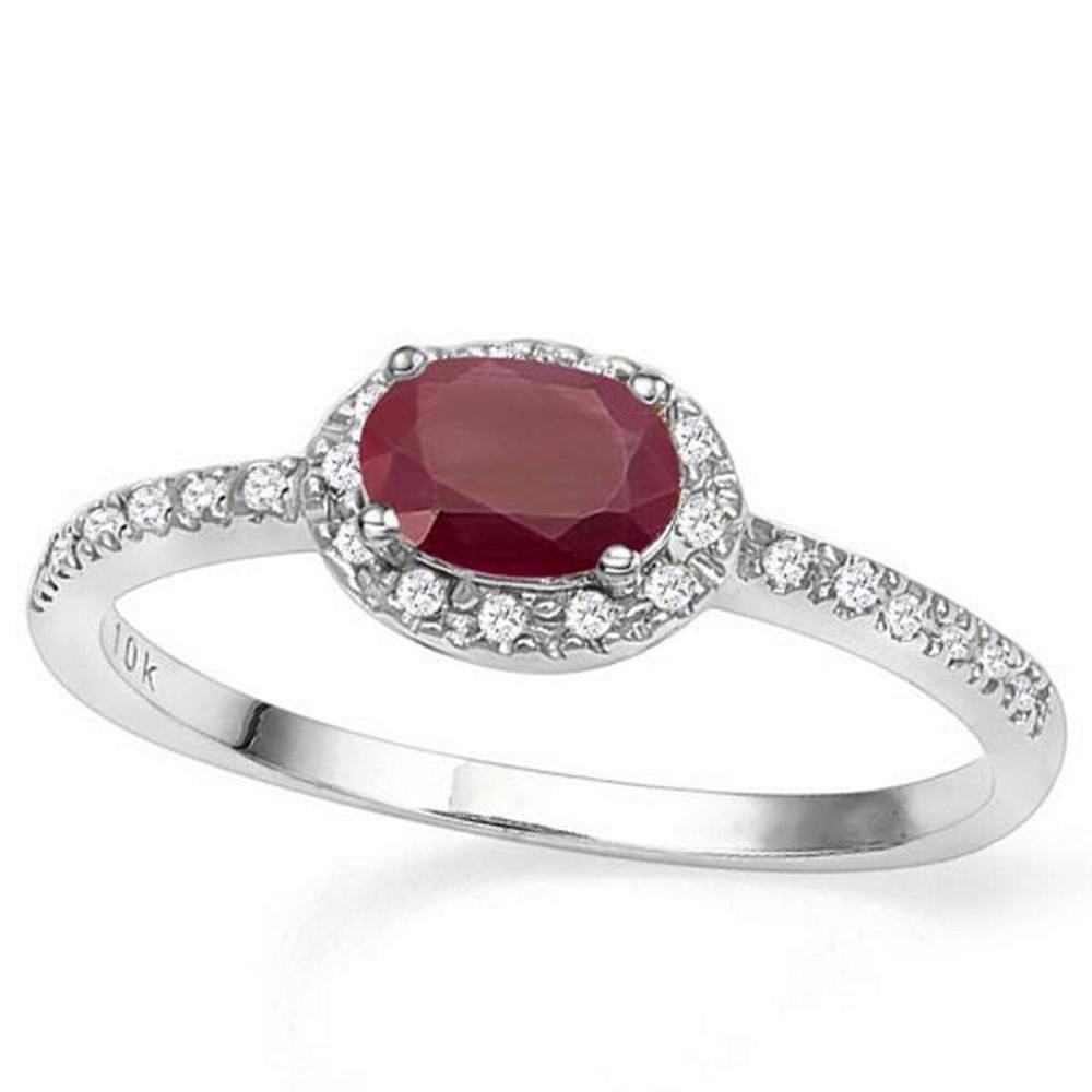 0.64 CT GENUINE RUBY & GENUINE DIAMOND (24 PCS) 10KT SOLID WHITE GOLD RING  #IRS56550
