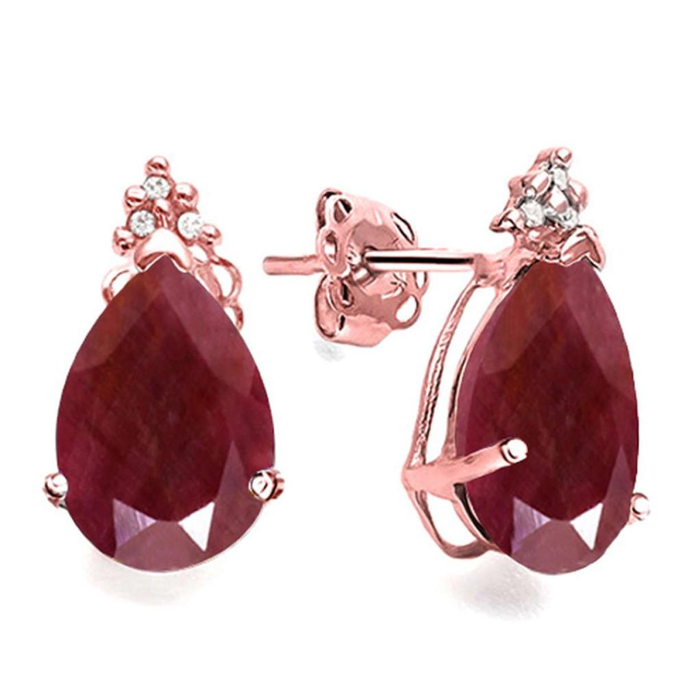 2.04 CT RUBY AND ACCENT DIAMOND 10KT SOLID ROSE GOLD EARRING #IRS93741