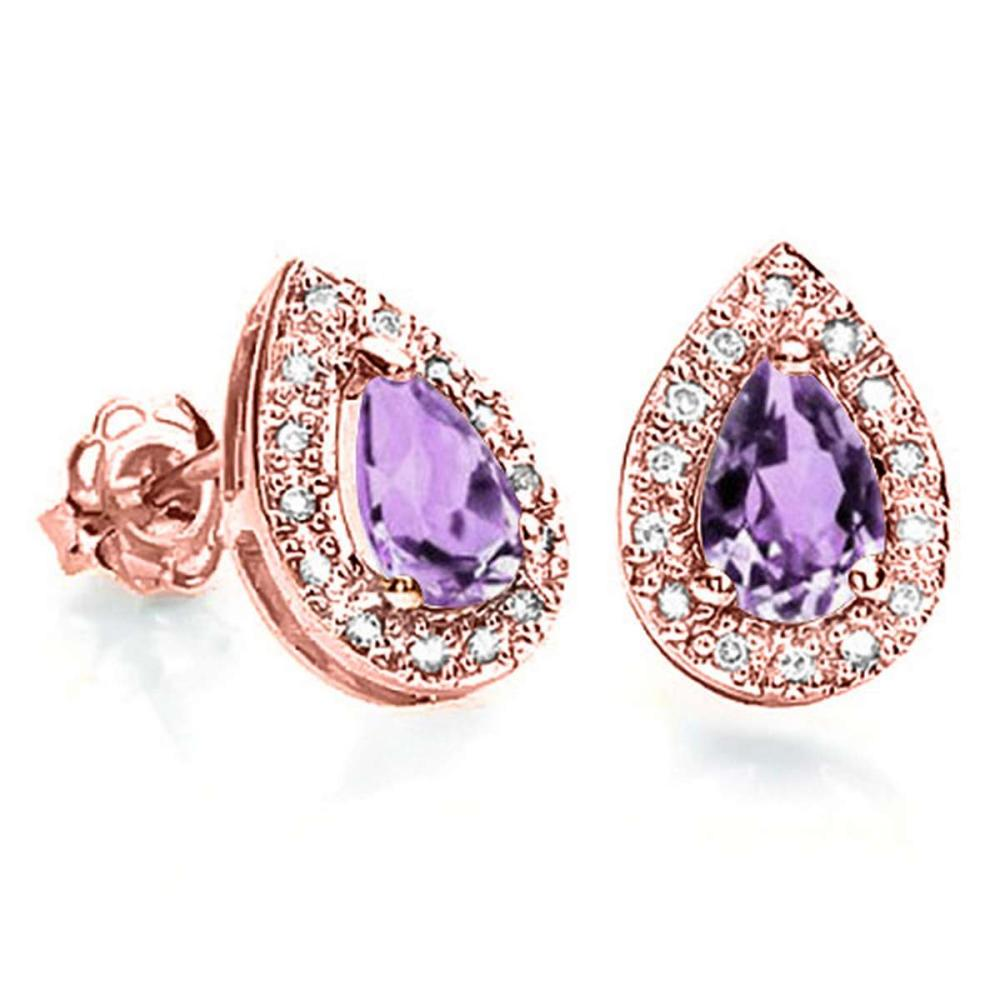 0.57 CT AMETHYST AND ACCENT DIAMOND 10KT SOLID ROSE GOLD EARRING #IRS93785