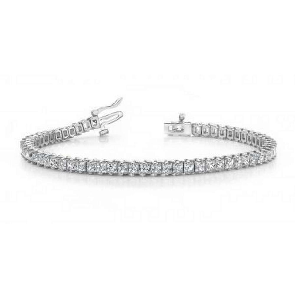 14K WHITE GOLD 5 CTW G-H VS2/SI1 CLASSIC PRINCESS PRONG SET DIAMOND TENNIS BRACELET #IRS19905