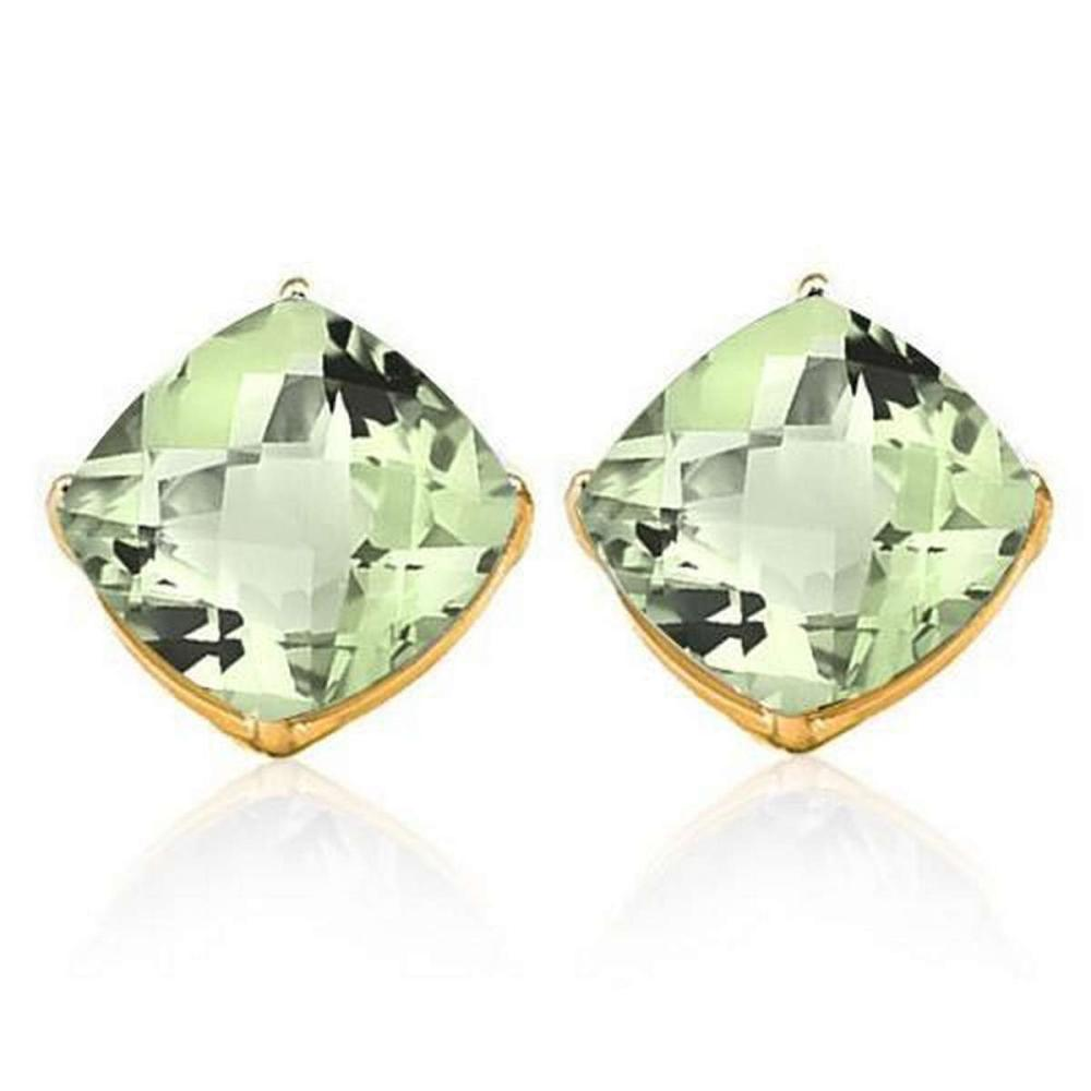 1.7 CTW GREEN AMETHYST 10K SOLID YELLOW GOLD CUSHION SHAPE EARRING #IRS37053
