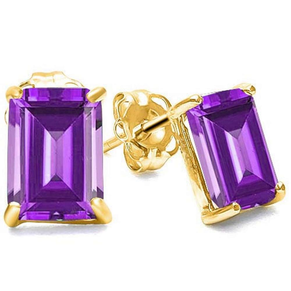 1.70 CTW AMETHYST 10K SOLID YELLOW GOLD OCTAGON SHAPE EARRING #IRS56714