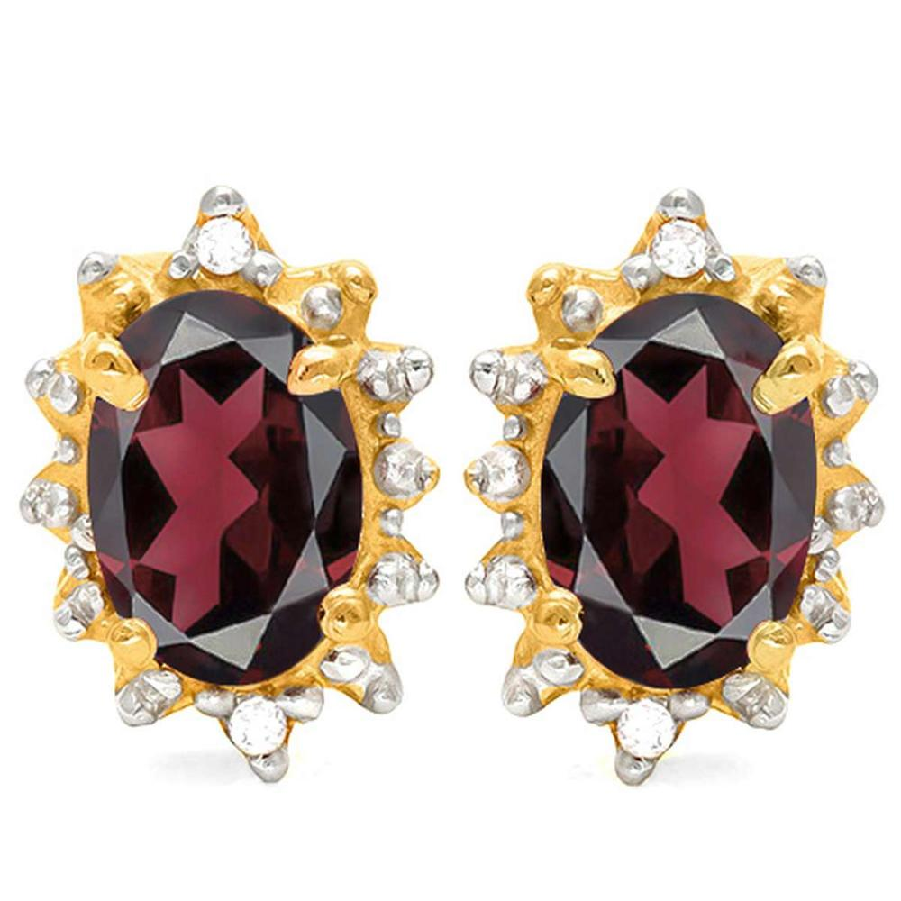 1.13 CT RHODALITE AND ACCENT DIAMOND 10KT SOLID YELLOW GOLD EARRING #IRS93728