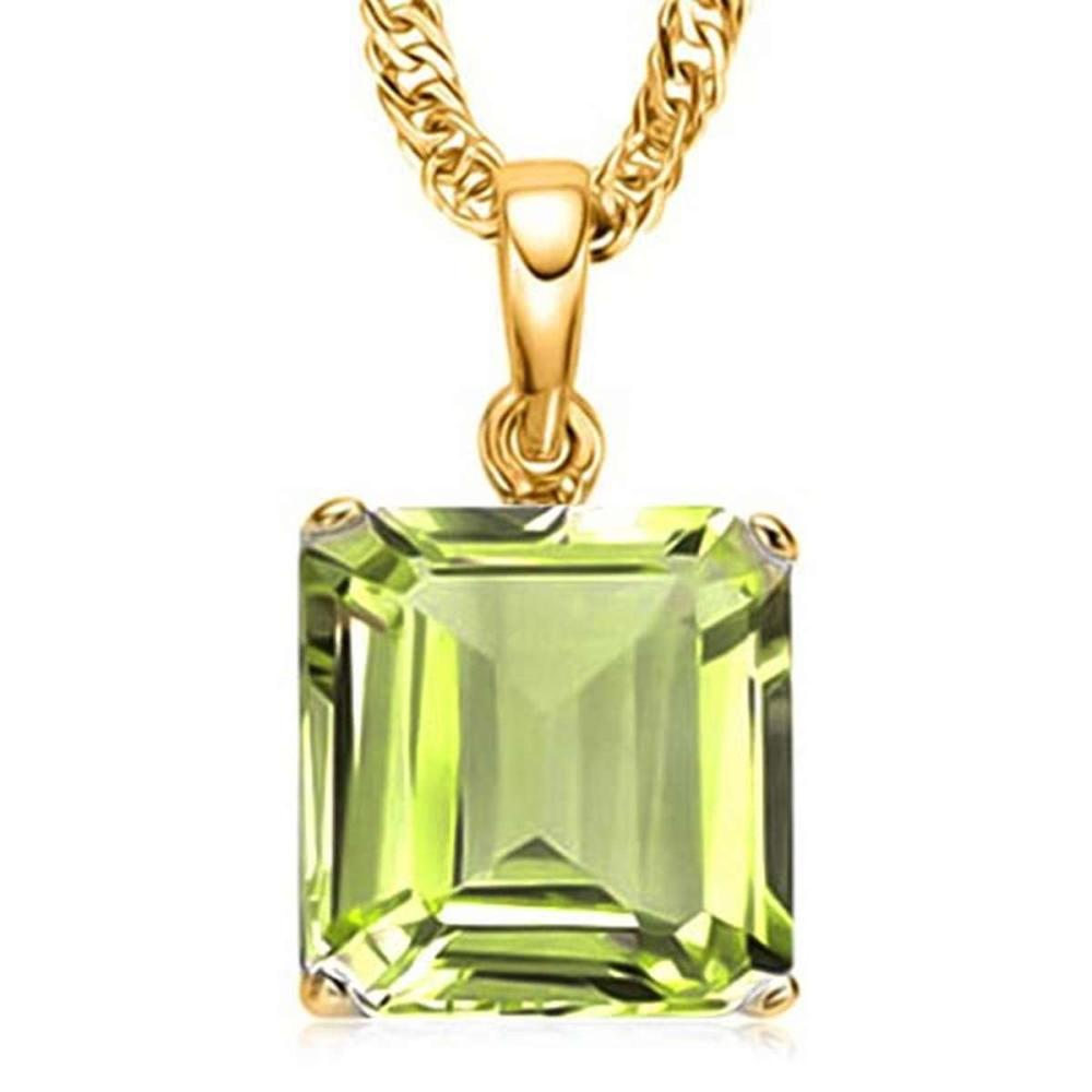 1.15 CTW PERIDOT 10K SOLID YELLOW GOLD SQUARE SHAPE PENDANT #IRS56791