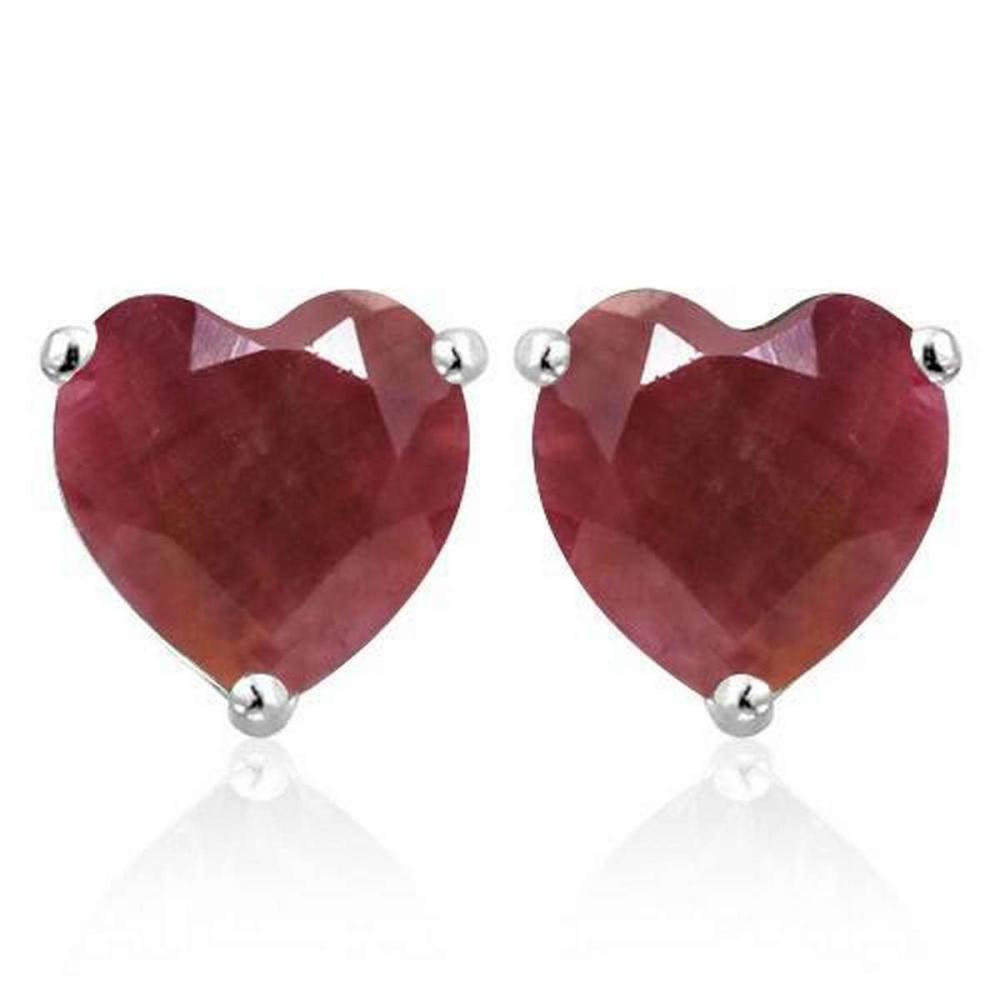 1.9 CTW RUBY 10K SOLID WHITE GOLD HEART SHAPE EARRING #IRS37018