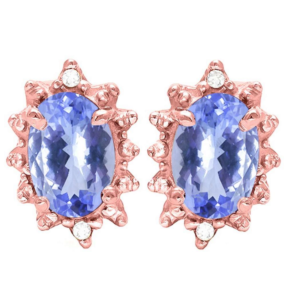 0.72 CT TANZANITE AND ACCENT DIAMOND 10KT SOLID ROSE GOLD EARRING #IRS93732