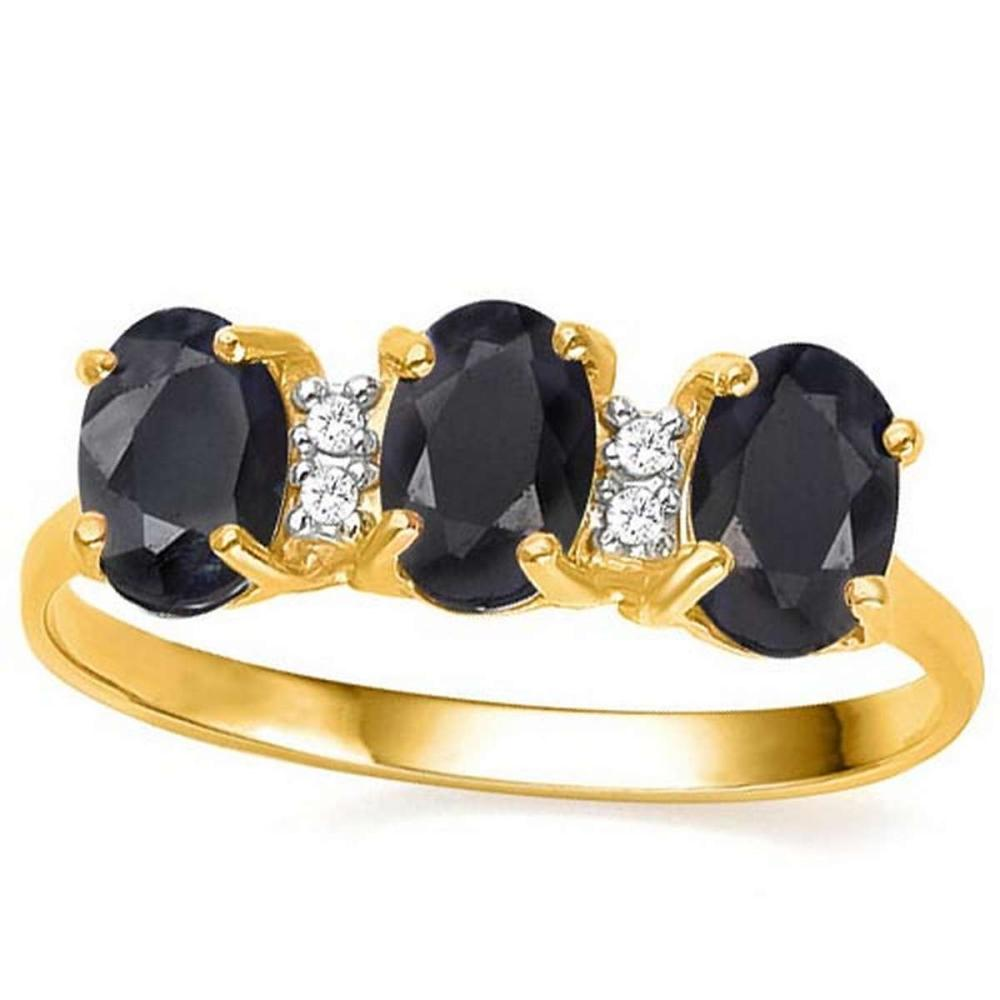 1.95 CTW GENUINE BLACK SAPPHIRE & GENUINE DIAMOND (4 PCS) 10KT SOLID YELLOW GOLD RING- #IRS80970