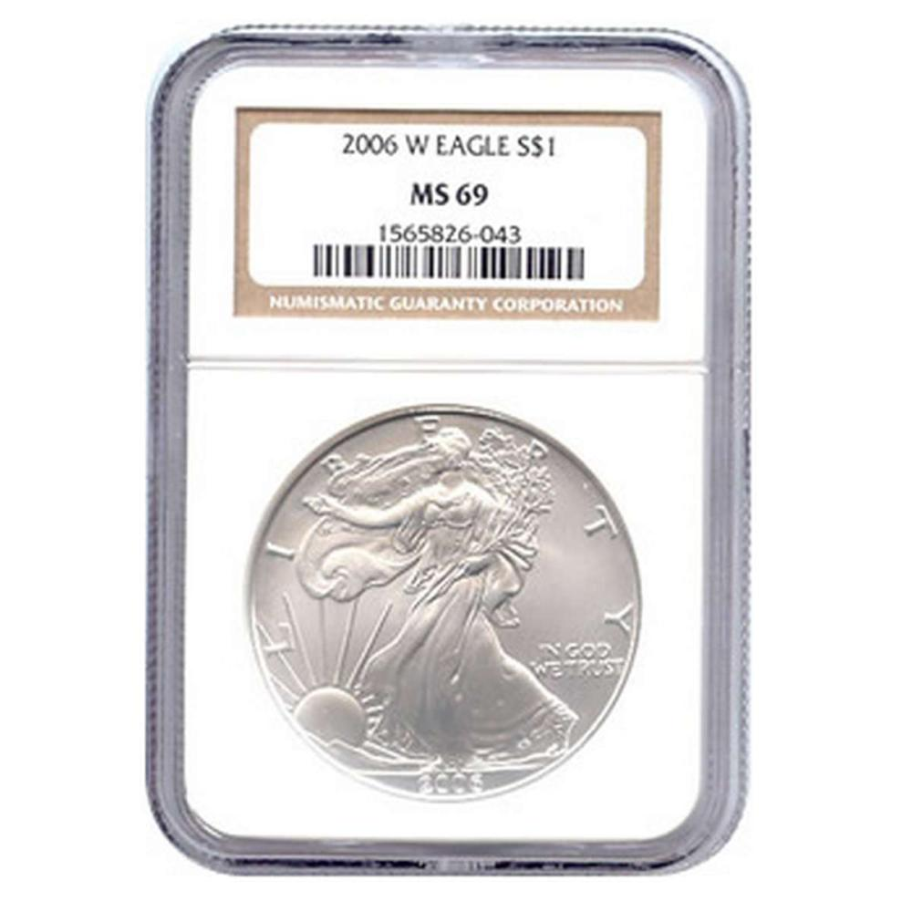 Burnished 2006-W Silver Eagle MS69 NGC #IRS81423