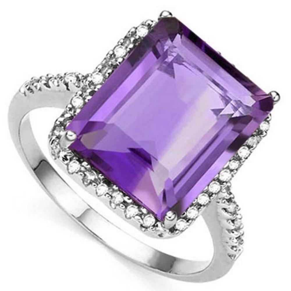 5.45 CTW AMETHYST & GENUINE DIAMOND (22 PCS) 10KT SOLID WHITE GOLD RING #IRS80847