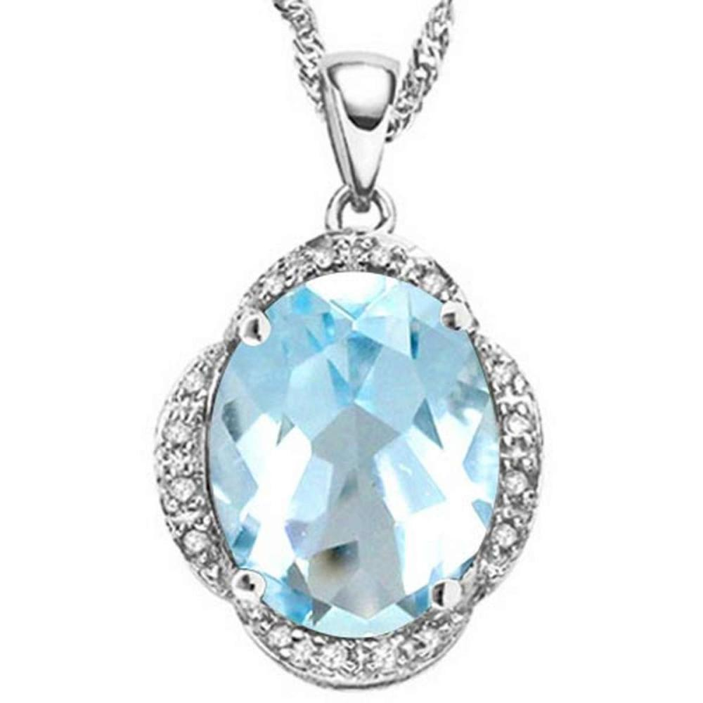 5.1 CTW GENUINE SKY BLUE TOPAZ & (16 PCS) DIAMOND 10KT SOLID WHITE GOLD PENDANT #IRS56600