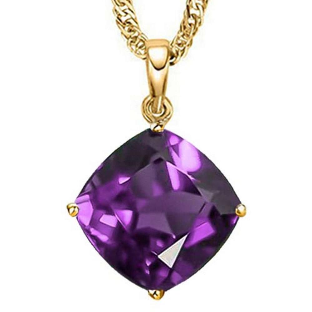0.8 CTW AMETHYST 10K SOLID YELLOW GOLD CUSHION SHAPE PENDANT #IRS56796