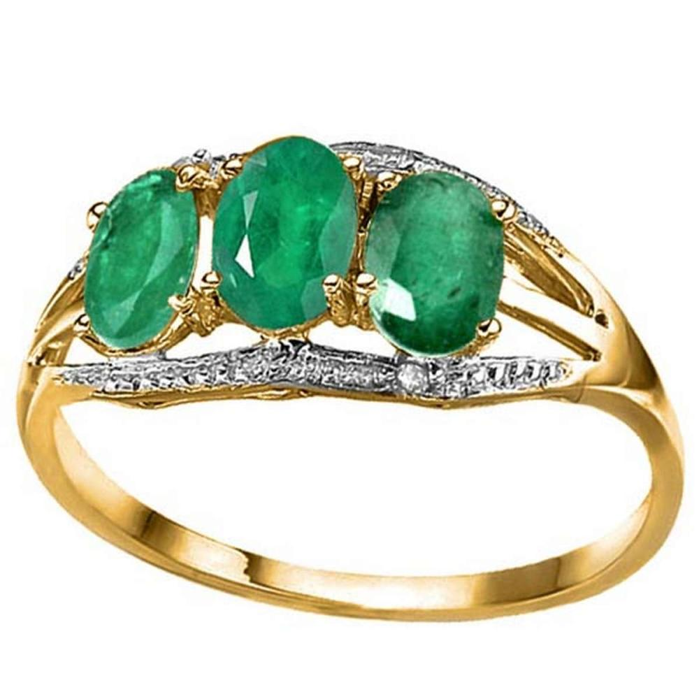 1.3 CTW GENUINE EMERALD & GENUINE DIAMOND (2 PCS) 10KT SOLID YELLOW GOLD RING #IRS80969