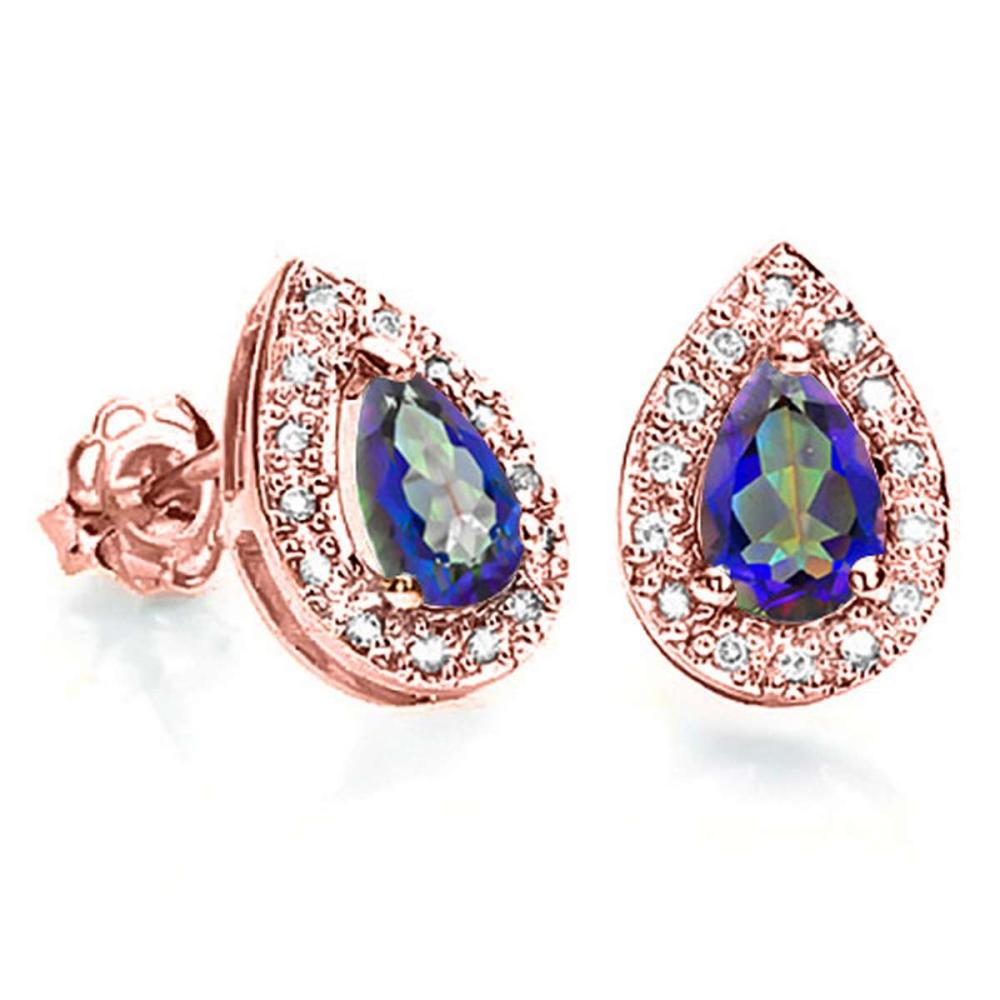 0.66 CT OCEAN BLUE MYSTIC QUARTZ AND ACCENT DIAMOND 10KT SOLID ROSE GOLD EARRING #IRS93784