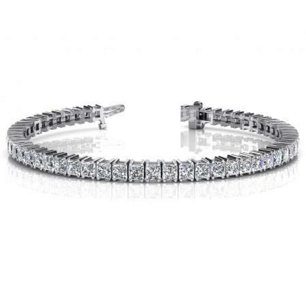 14K WHITE GOLD 4 CTW G-H VS2/SI1 PRINCESS CUT DIAMOND STRAND TENNIS BRACELET #IRS19943