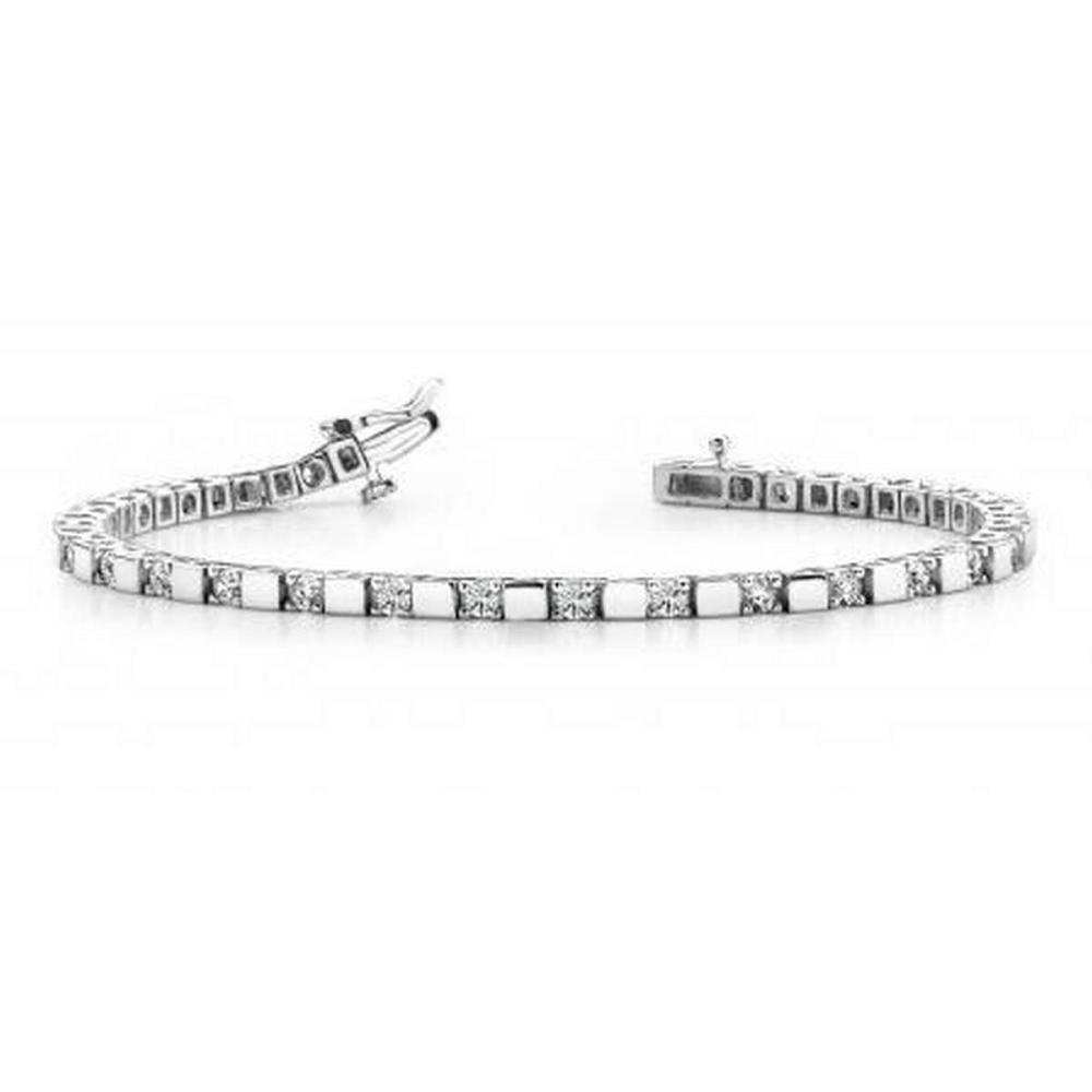 14K WHITE GOLD 1 CTW G-H VS2/SI1 ALTERNATING DIAMOND BLOCK HARMONY TENNIS BRACELET #IRS19941