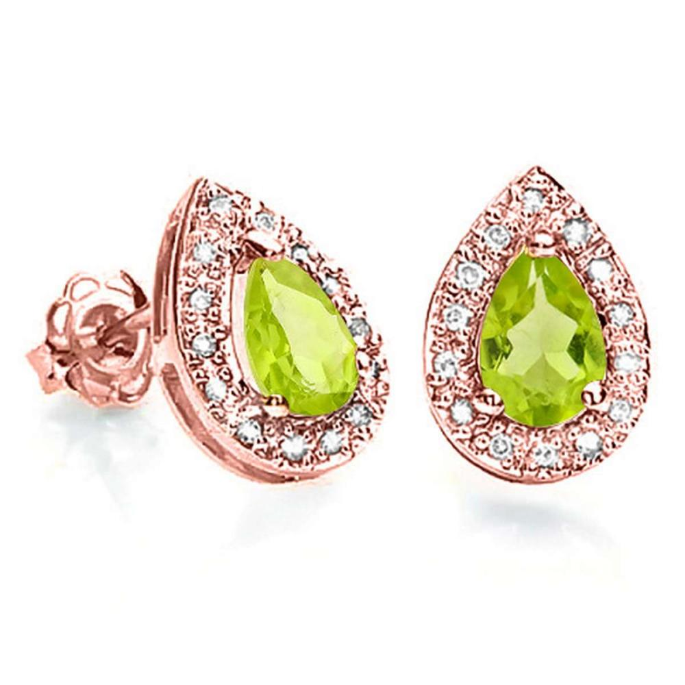 0.79 CT PERIDOT AND ACCENT DIAMOND 10KT SOLID ROSE GOLD EARRING #IRS93787
