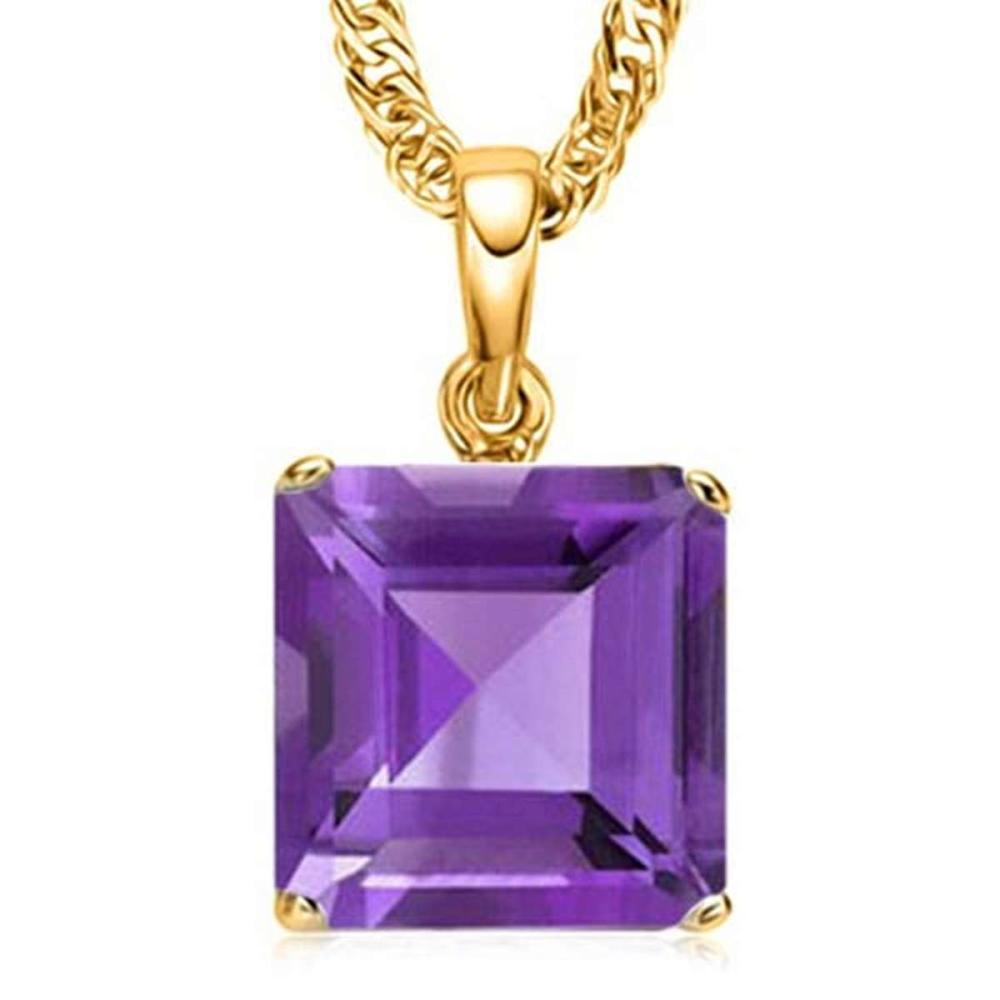0.95 CTW AMETHYST 10K SOLID YELLOW GOLD SQUARE SHAPE PENDANT #IRS56788