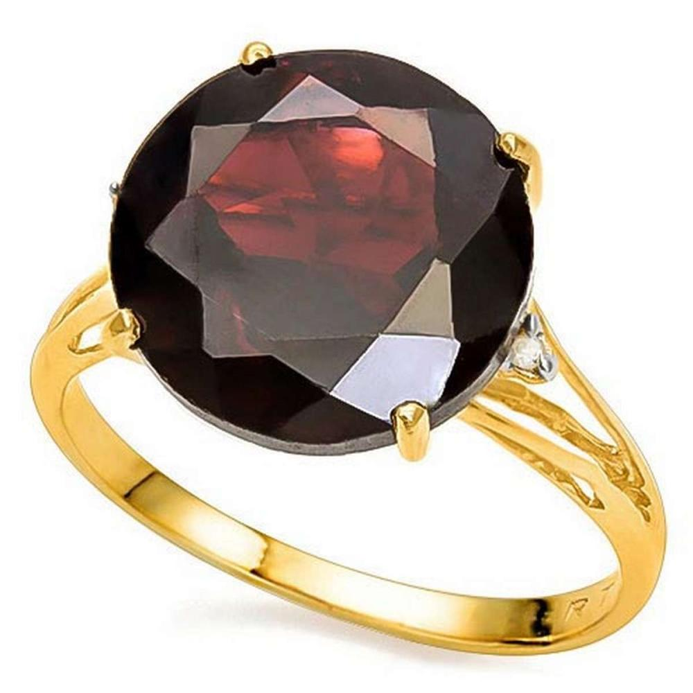 6.38 CTW GENUINE GARNET & GENUINE DIAMOND (2 PCS) 10KT SOLID YELLOW GOLD RING #IRS80888