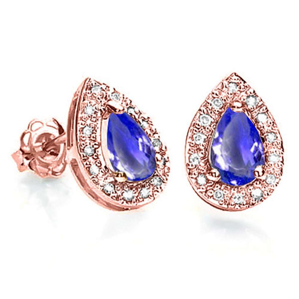 0.61 CT TANZANITE AND ACCENT DIAMOND 10KT SOLID ROSE GOLD EARRING #IRS93780