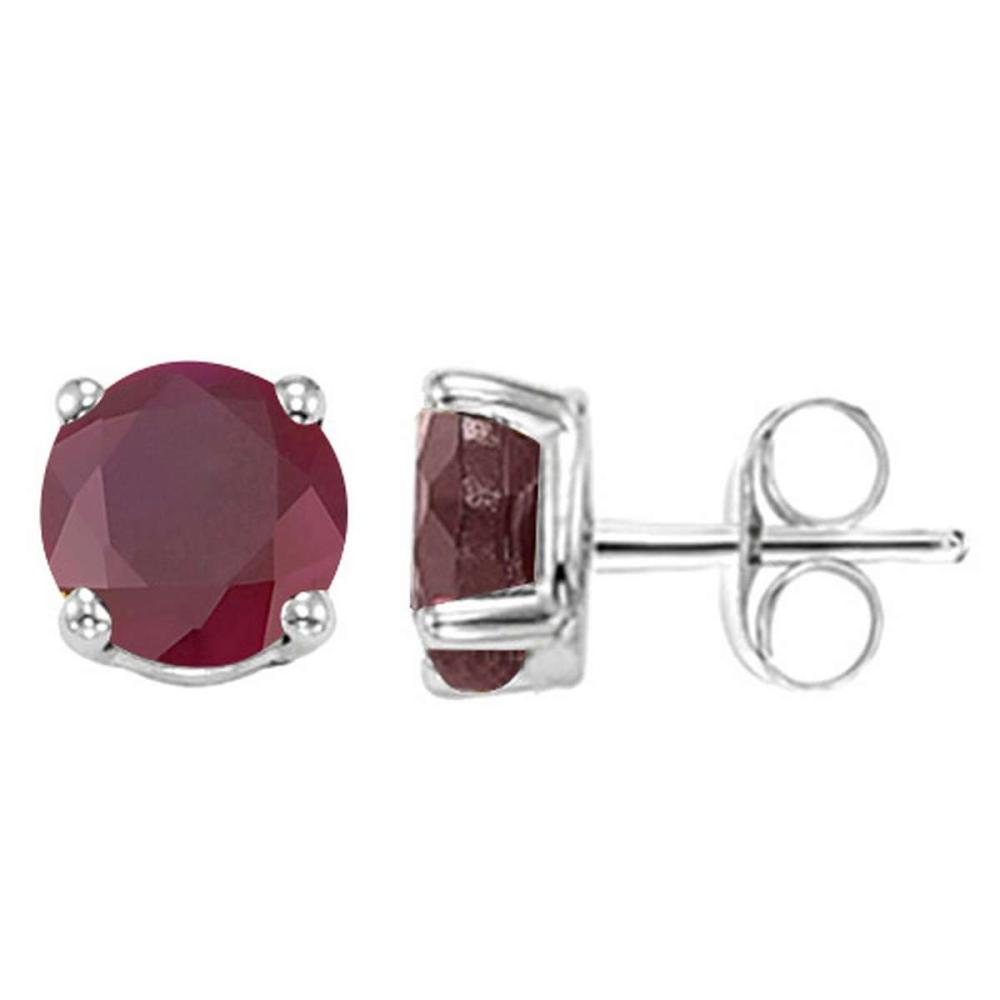 2.85 CT RUBY 10KT SOLID WHITE GOLD EARRING #IRS93669