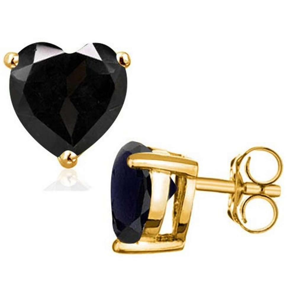 2.0 CTW BLACK SAPPHIRE 10K SOLID YELLOW GOLD HEART SHAPE EARRING #IRS56690