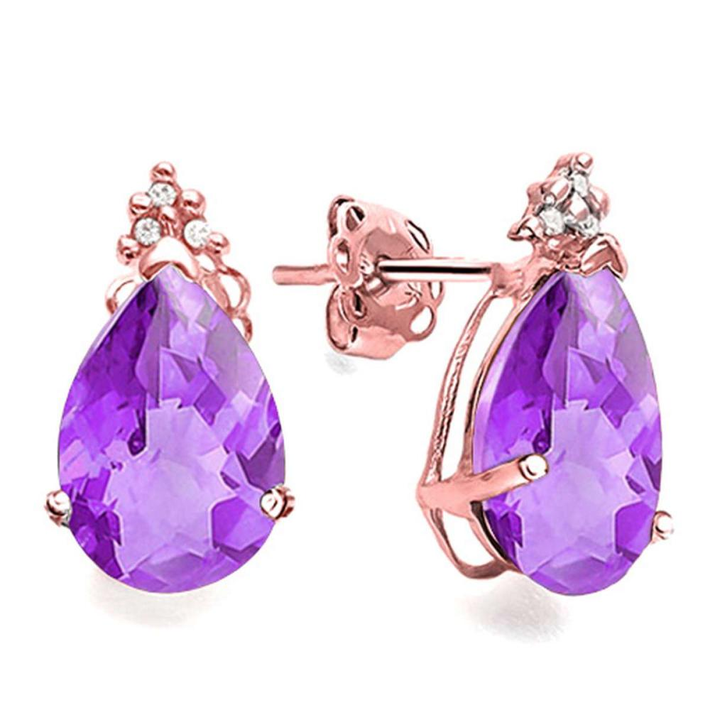 1.21 CT AMETHYST AND ACCENT DIAMOND 10KT SOLID ROSE GOLD EARRING #IRS93747