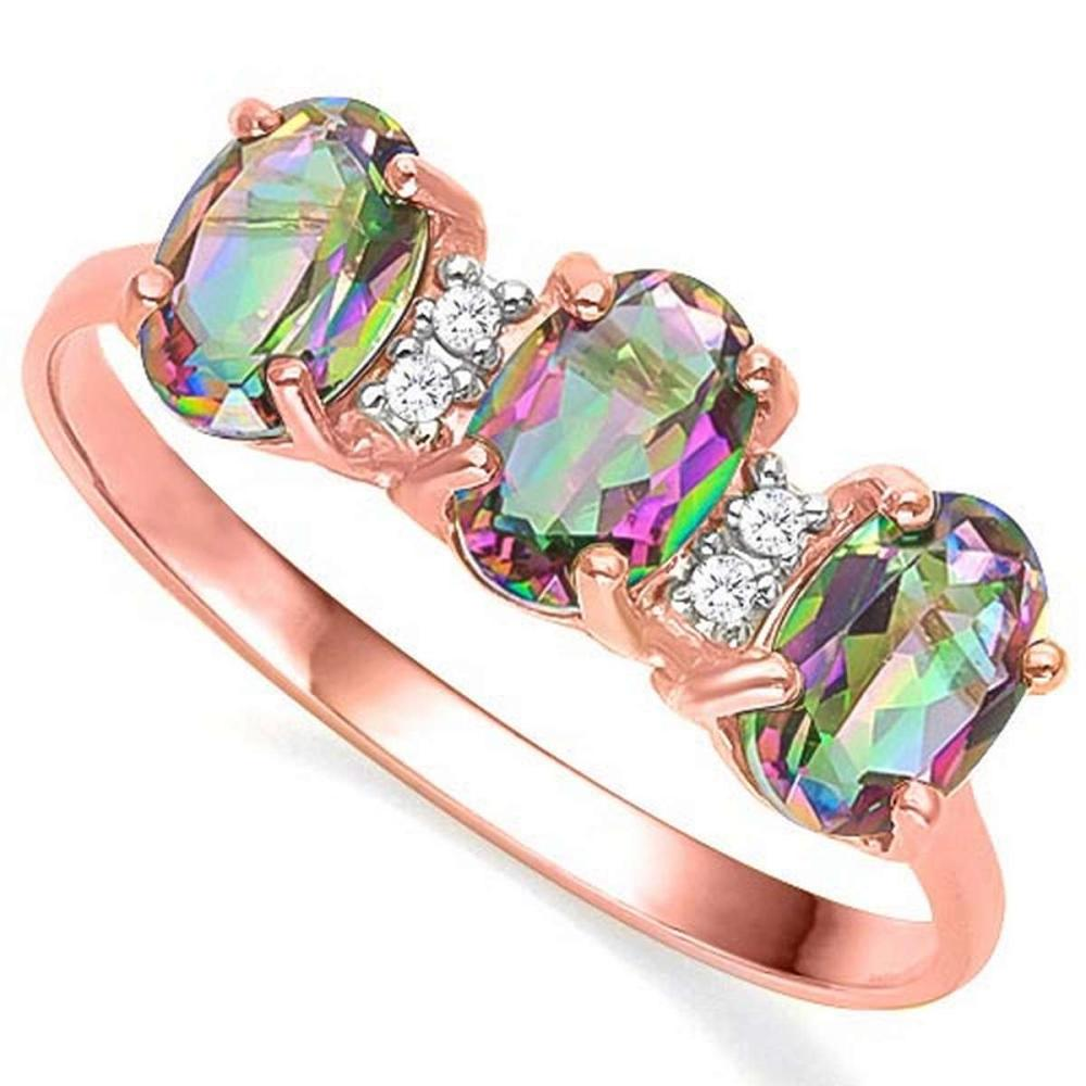 1.15 CTW MYSTIC GEMSTONE & GENUINE DIAMOND (4 PCS) 10KT SOLID RED GOLD RING #IRS80905
