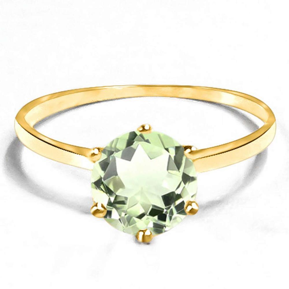 0.74 CT GREEN AMETHYST 10KT SOLID YELLOW GOLD RING #IRS93837