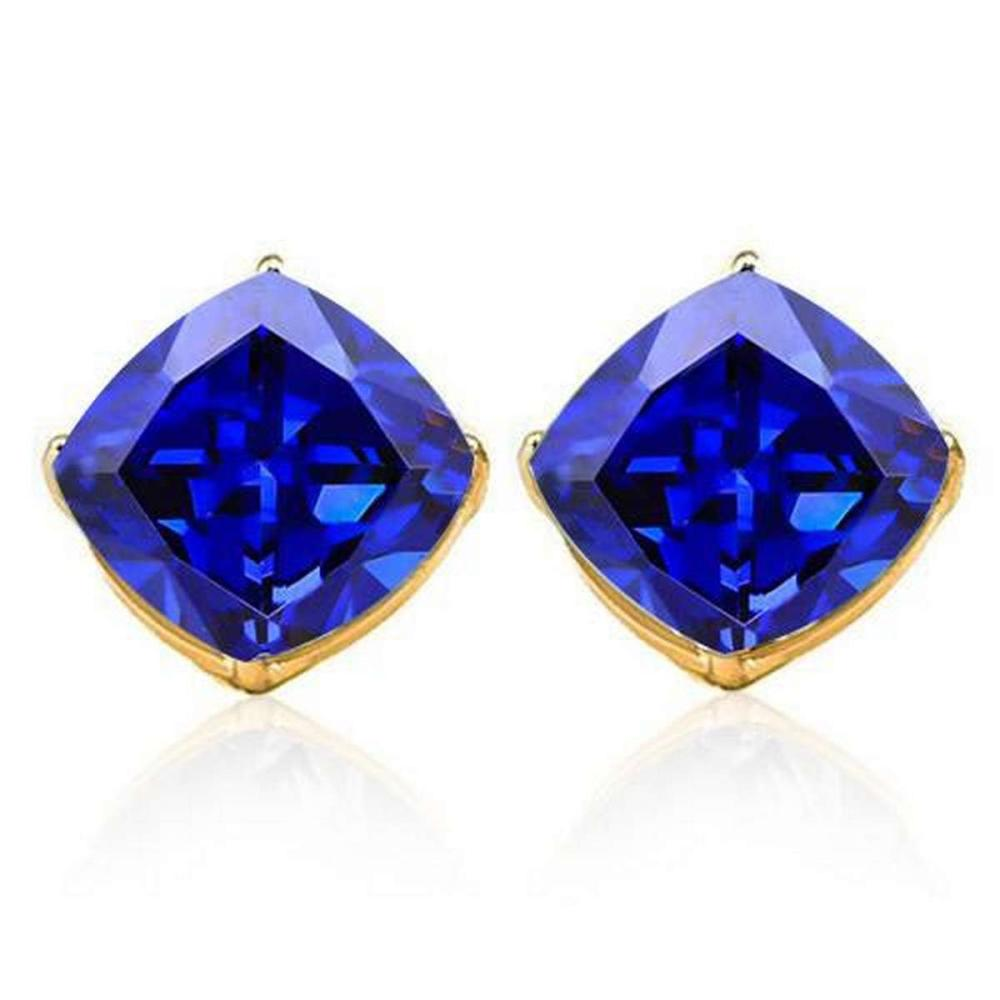 3.3 CTW LAB TANZANITE 10K SOLID YELLOW GOLD CUSHION SHAPE EARRING #IRS37057