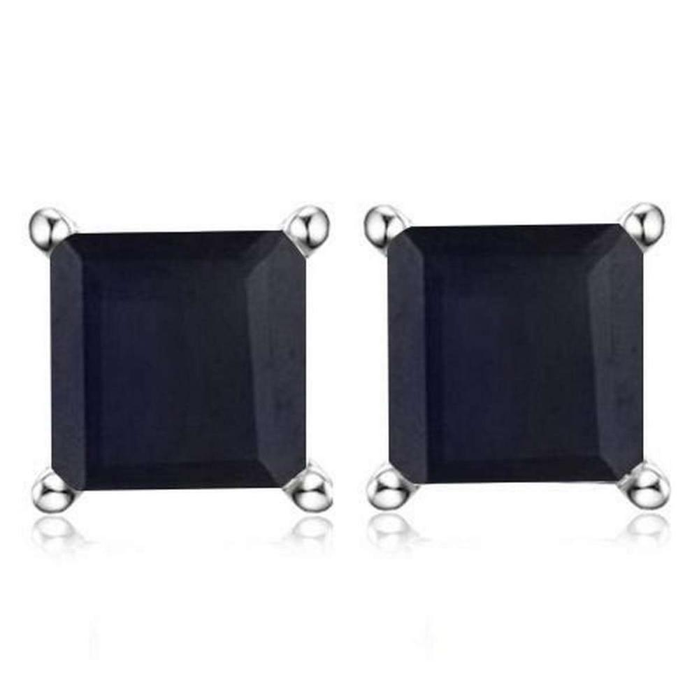 2.5 CTW BLACK SAPPHIRE 10K SOLID WHITE GOLD SQUARE SHAPE EARRING #IRS37030