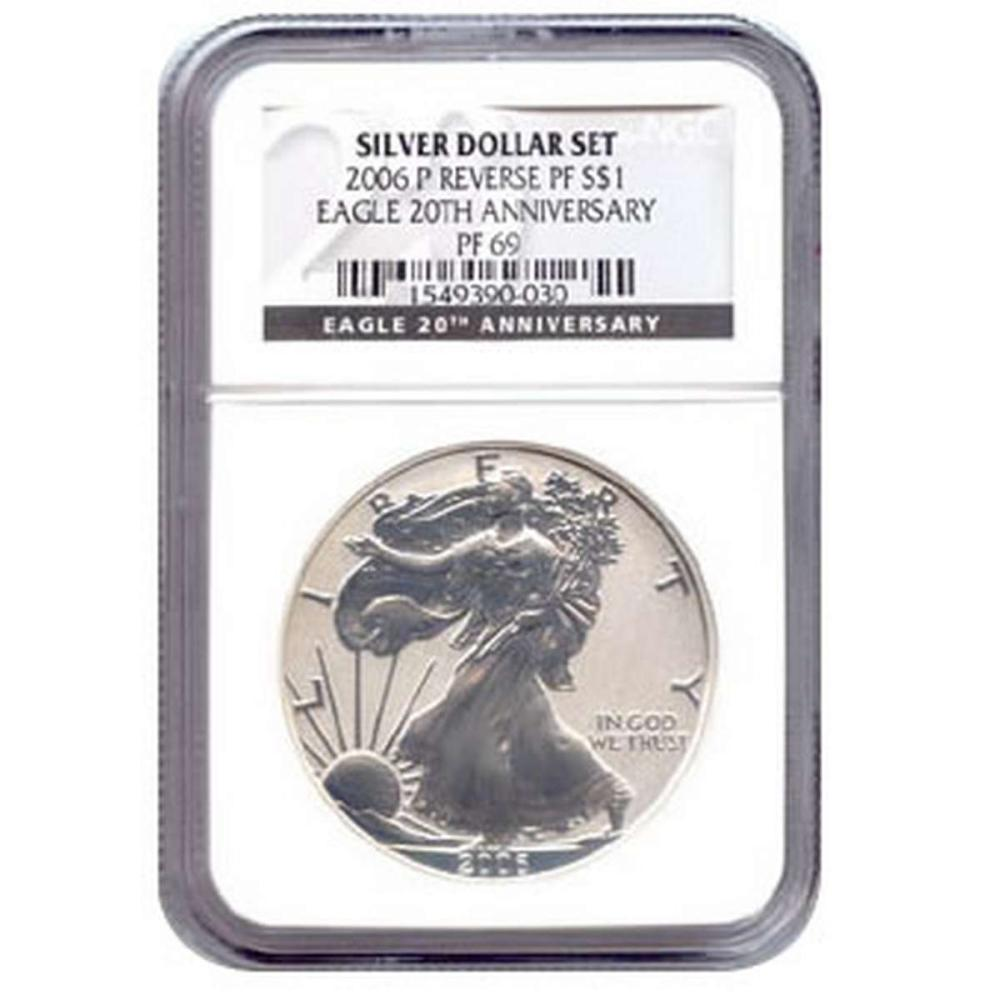Certified 2006-P 20th Anniversary American Eagle Silver Reverse Proof PF69 #IRS81427